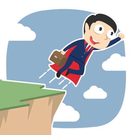Super businessman taking flight from cliff edge