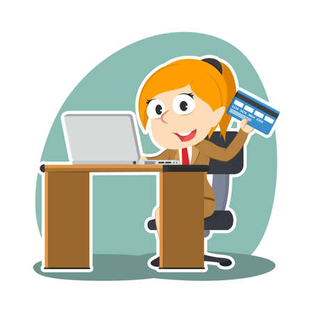 Businesswoman with laptop and credit card. Illustration