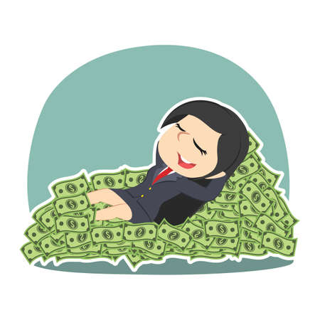 Businesswoman sleeping on money bed