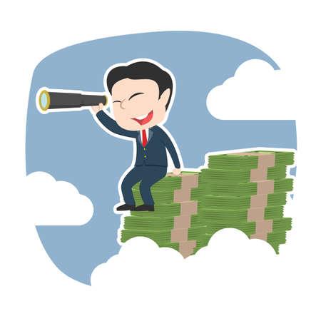 Asian businessman using telescope on top of money peak