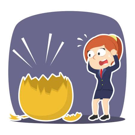 Businesswoman shocked when see her golden egg broke