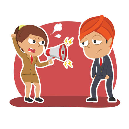 Indian businesswoman shouting to male employee Illustration