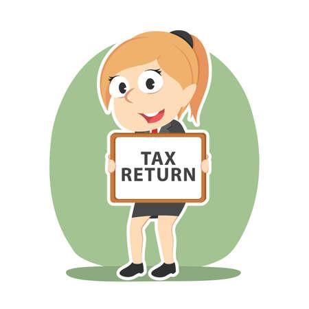Businesswoman holding tax return board sign Illustration