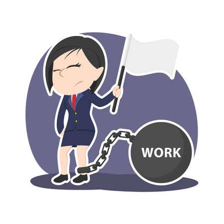 Asiatische Geschäftsfrau geben auf ihrer Arbeitsbelastung auf. Standard-Bild - 93057543