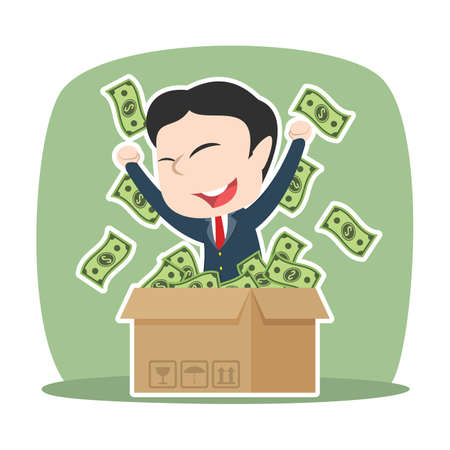 Asian businessman with dollar came out from cardboard box