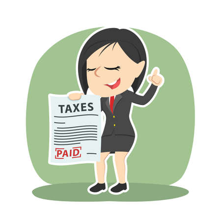 Businesswoman showing paid tax paper