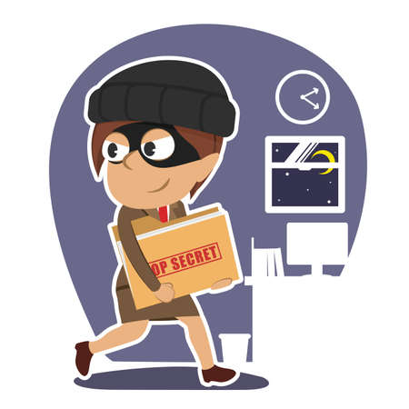 Indian thief businesswoman stealing top secret document folder