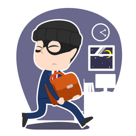 Asian thief businessman stealing briefcase