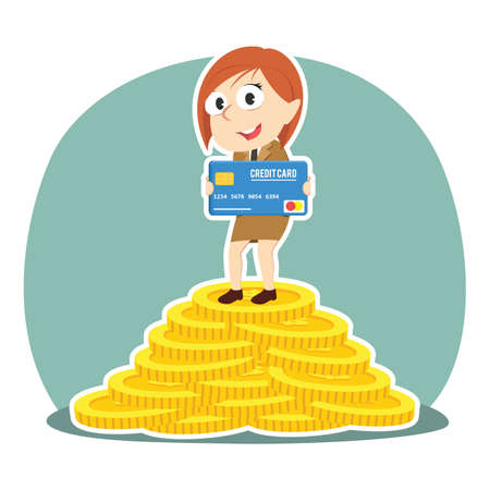 Businesswoman holding credit card on pile of coins