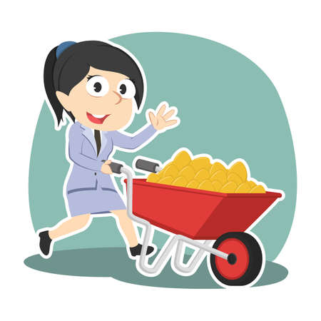 Businesswoman and wheelbarrow filled with golden eggs