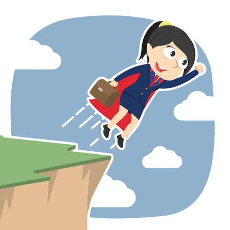 Super businesswoman taking flight from cliff edge Vectores