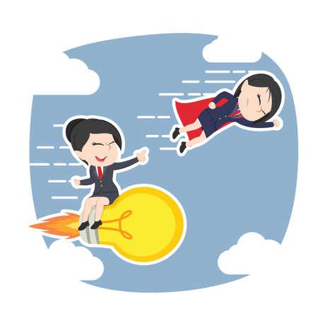 Asian businesswoman with rocket idea against super Asian businesswoman