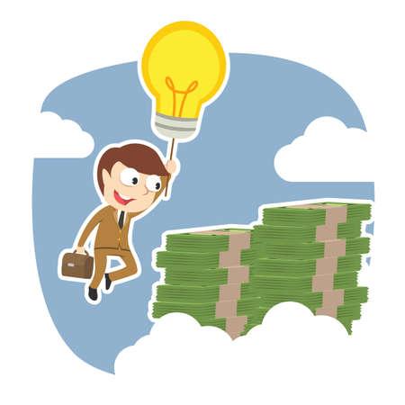 Businessman using his idea to the top of money peak Ilustração
