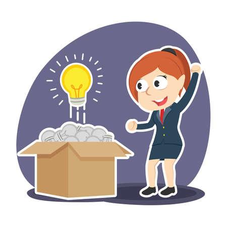 Businesswoman found shining bulb among dim bulbs
