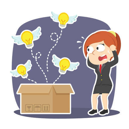 Businesswoman panic because her ideas fly away Illustration