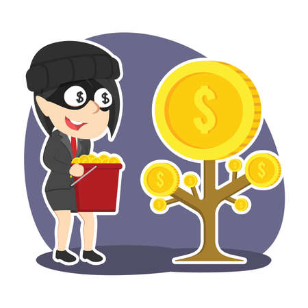 Thief businesswoman harvesting coins from someone else coin tree Illustration
