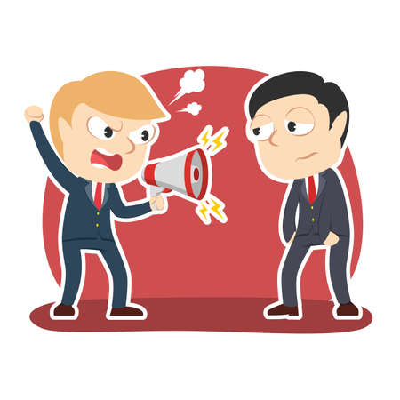 Businessman yelling with megaphone to his male employee