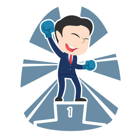Chinese businessman boxer champion illustration.