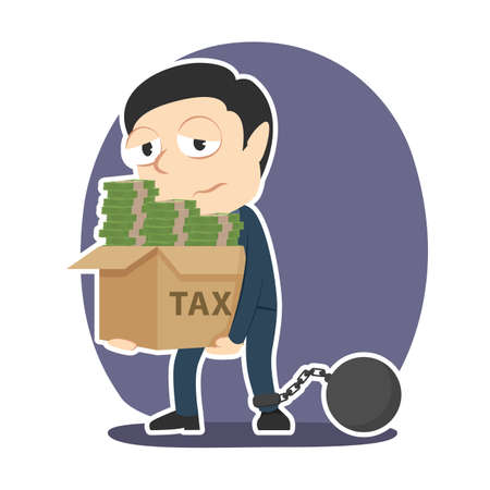 Businessman with box of money chained to tax illustration.