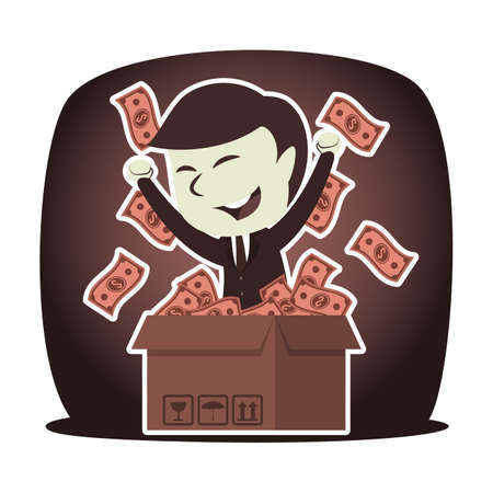 Retro style businessman with dollar came out from cardboard box
