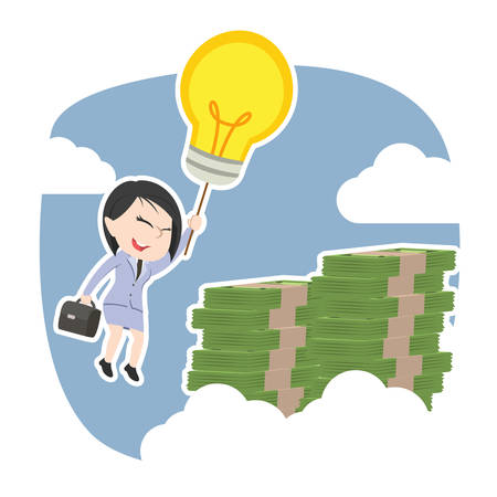 Asian businesswoman using her idea to the top of money peak