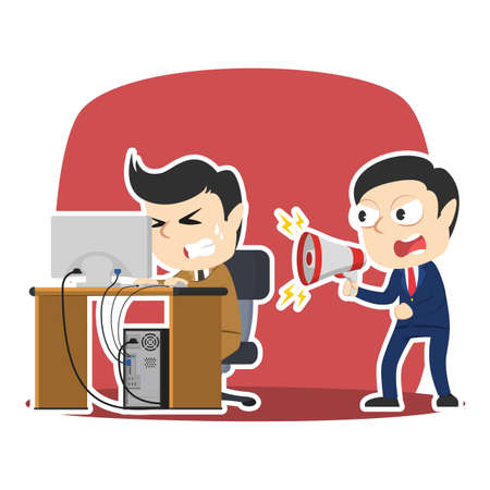 Businessman yelling to his stressed employee