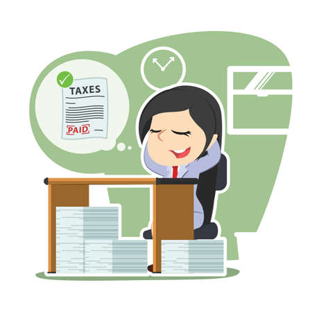 Businesswoman think calmly about her paid tax payment Stock Illustratie