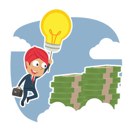 Indian businessman using his idea to the top of money peak. Ilustração