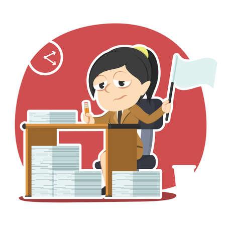 Zakenvrouw geven overvloedige taak op Stock Illustratie