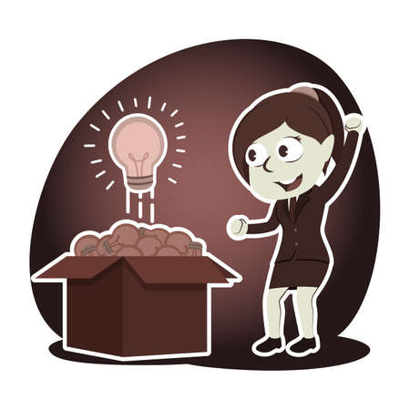 Retro style businesswoman found shining bulb among dim bulbs