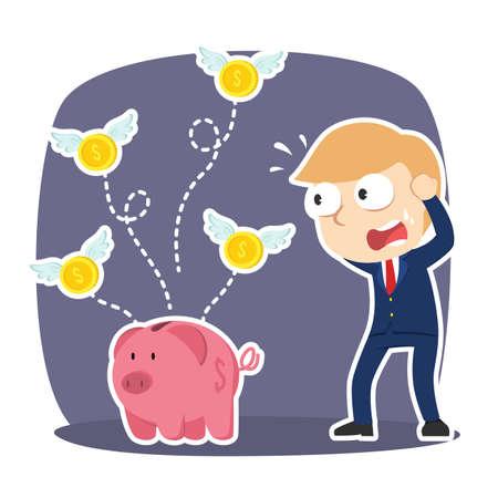 Homme d'affaires panique parce que ses pièces de monnaie volent loin de sa tirelire
