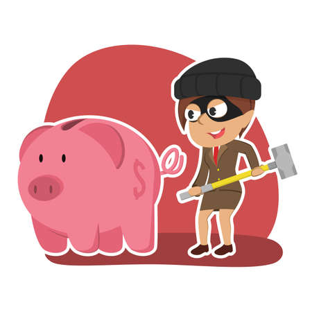 Indian thief businesswoman want to break piggy bank