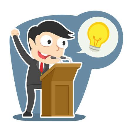 Businessman giving speech about his idea