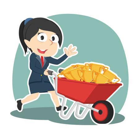 Businesswoman carrying trophies on wheelbarrow