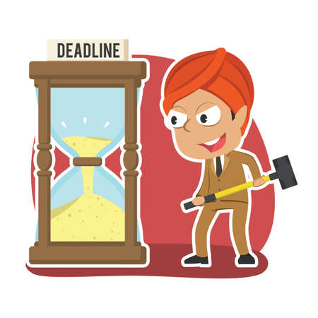 Indian businessman want to break deadline hourglass with hammer Illustration