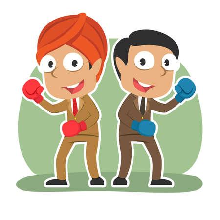 Indian businessman fighting together
