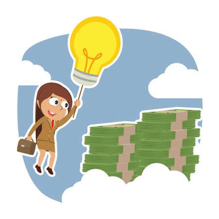 Indian businesswoman using her idea to the top of money peak Ilustração