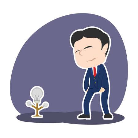 Businessman with dim bulb tree