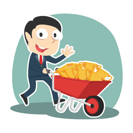 Businessman carrying trophies on wheelbarrow illustration.
