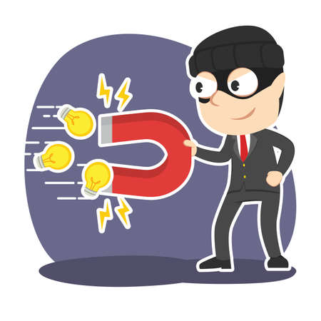 Thief businessman stealing ideas with magnet illustration.