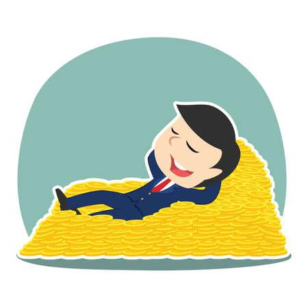Businessman sleeping on coin bed illustration. Illustration