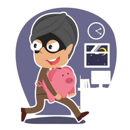 Thief indian businessman stealing piggy bank
