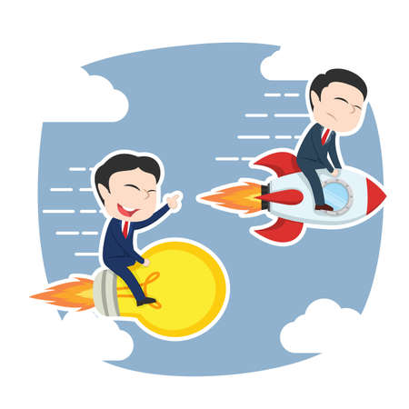 Asian businessman racing with idea and rocket Illustration