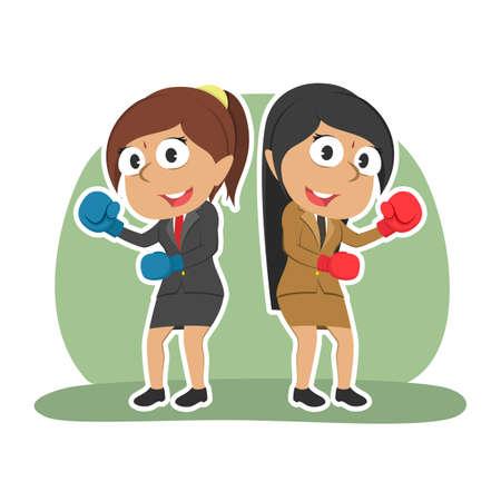 Indian businesswoman fighting together color Illustration