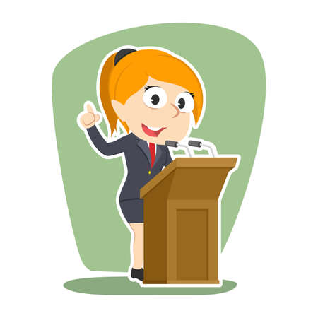 Businesswoman giving speech vector illustration design