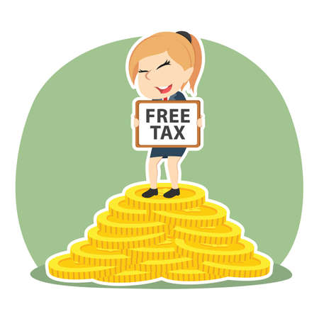 Businesswoman holding free tax sign on pile of coins.
