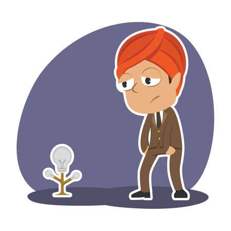 Businessman with plant bulb vector illustration