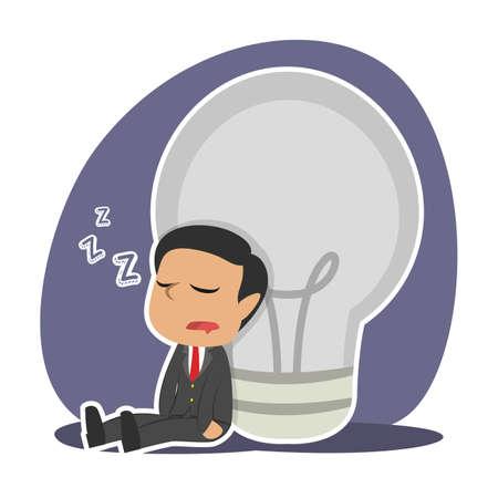 Tired Indian businessman sleeping beside dim bulb illustration. Иллюстрация