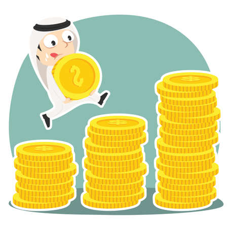 Arabian businessman climbing coin stairs while carrying coin