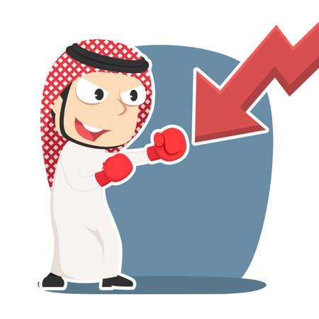 Arabian businessman punching down chart